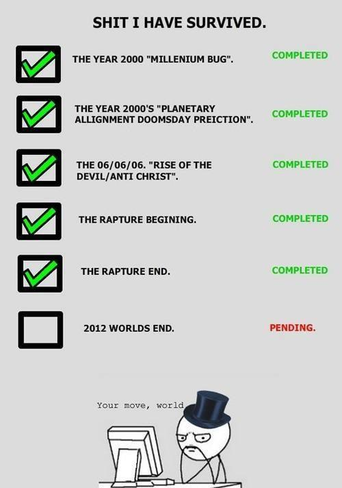 2012 Apocalypse Check List